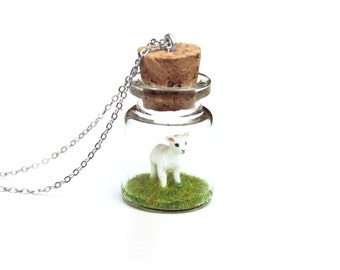 Spring Lamb Terrarium Necklace, Miniature Animal Jar, Baby Animal - miniature easter lamb inside 3cm tall tiny bottle necklace