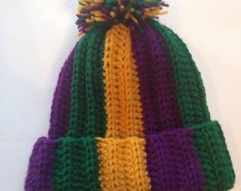 Handmade Crochet Mardi Gras Crochet Hat with Pom or without Messy Bun Crochet Beanie