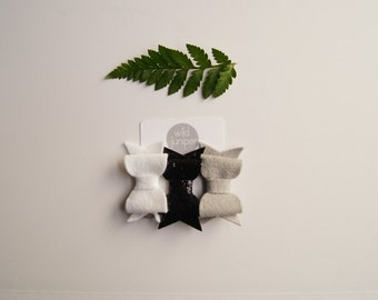 Baby Hair Clip Set in Gray, White, and Black Glitter