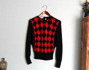 Vintage Black & Red Harlequin Angora Sweater Antonella Preve M