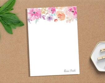 Watercolor Flower Notepad, Personalized Notepad, Custom Notepad, Paper, Stationery, Custom Stationery, Monogram, Gift, Notes, Pad