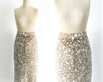 Vintage 1960s Leopard Pencil Skirt Leopard Midi Skirt 60s Pencil Skirt Mad Men Skirt Leopard Skirt Wool Pencil Skirt Wool Midi Medium