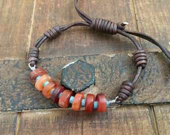 Carnelian and turquoise leather bracelet, knotted boho rustic jewelry
