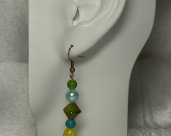 Earings: Green, Blue, Yellow, and Copper Earrings