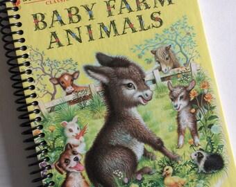 Baby Farm Animals RECYCLED BOOK JOURNAL notebook Spiral Bound Little Golden Book