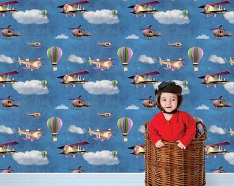 Removable Wallpaper-Airborne- Peel & Stick Self Adhesive Fabric Temporary Wallpaper-Repositionable-Reusable- FAST. EASY.