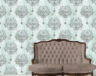 Removable Damask Wallpaper  PRINCESS  Peel U0026 Stick Self Adhesive Fabric  Temporary Wallpaper Repositionable