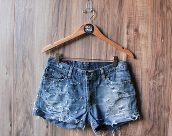 Studded denim boyfriend shorts Size 10/12 | Silver studded shorts | Vintage denim shorts | Hipster festival shorts | Distressed denim shorts