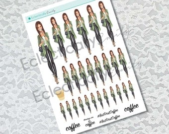 Coffee Girl Stickers | Fashion Illustration Stickers | Planner Stickers | Stickers for Erin Condren Life Planner |  Fall Planner Stickers