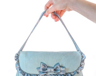 Soft doll carry bag from cotton, carrying case, doll carry case, doll bag, doll carrier, bjd carrier, doll travel bag, light blue handbag