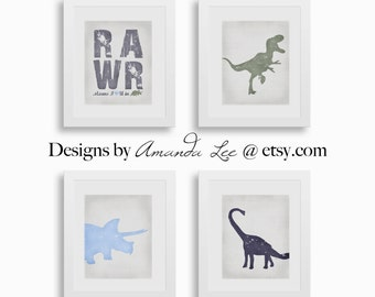 Dinosaur Art Print - Set of Four 8x10 - Dinosaur Room - Blue Dinosaur Designer Set 7