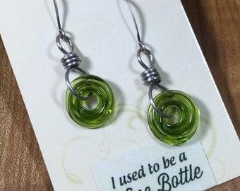 Wine Bottle Earrings, Green Wine Earrings, Wine Lovers Gift, Lampwork SRA, Recycled bottle