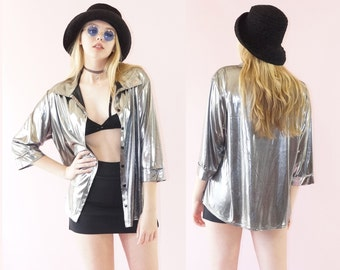 Metallic 90s Slinky Party Top, Button Down 90s Metallic Foil Top, 90s Grunge Goth, Holiday Party, Women's Size X-Large