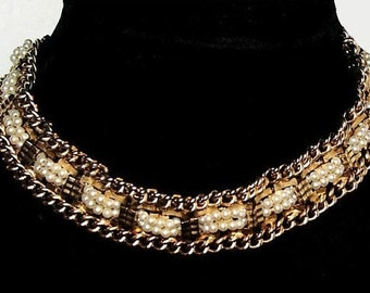 "Pearl Rhinestone Choker Necklace Gold Metal Chains Hook Tail Clasp 15"" Vintage"