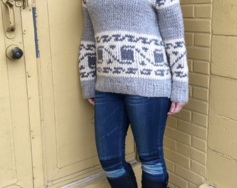 vintage classic cowichan sweater pullover with shawl collar - 70s