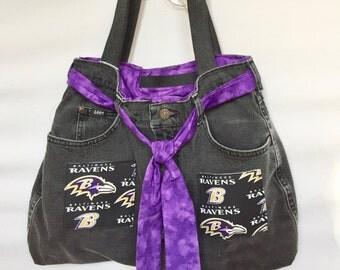 Baltimore Ravens Theme Denim Jeans Purse Tote Bag