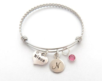 Niece Bracelet, Niece Gift, Niece Bangle, Monogram Initial Gift, Gifts for Nieces Gifts from Aunts, Niece Birthstone Gift, Gifts from Cousin
