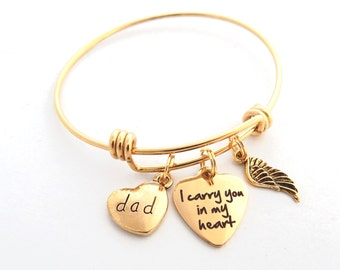 Dad Sympathy Gift, Dad SYMPATHY BRACELET, Loss of father gift, Gold Bereavement gift, In memory of, I carry you in my heart memorial Gift