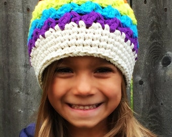 Rainbow hat, girls crochet beanie, kids hat, crochet hat, baby hat, hats for kids, rainbow beanie