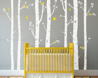 Birch Tree Wall Decals | Seven Birch Trees with Flying Birds | Baby Nursery, Children's Room Interior Designs | Easy Application 009