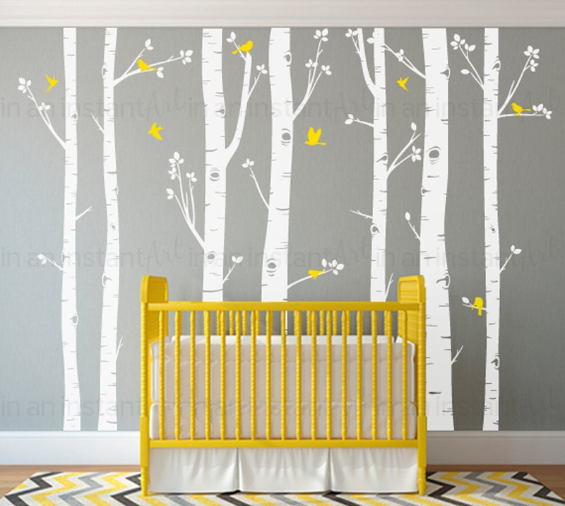 Birch Tree Wall Decals | Seven Birch Trees with Flying Birds | Baby  Nursery, Childrenu0027s Room Interior Designs |