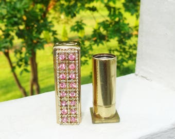 1940s Era Small Antique Auvergne After Five Perfume Stick Gold with Pink Rhinestones