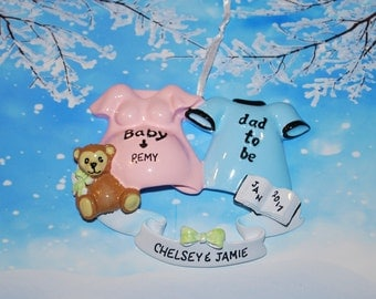 Personalized We're Expecting Christmas Ornament