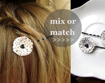 PICK 2 Hair Pins Decorative Bobby Pins, MORE COLORS Black and White Polka Dot Fabric, Small Hair Clip, Tiny Barrette Short hairAccessories
