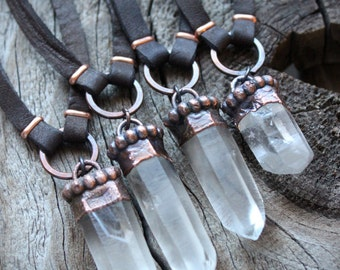 LEMURIAN Quartz Necklace • Chakra Balancing • Electroformed • Healing Quartz • Unisex • Boho • Nature Inspired