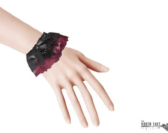 W25 Black and Wine Lace Wrist Cuffs with bead drop