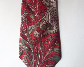 Liberty of London NeckTie, Red and Gray Paisley Wheat Pattern Imported Italian Silk Tie