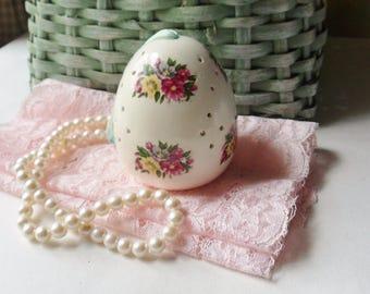 Egg Pomander, Egg Shaped Floral Sachet Holder with Hanging Ribbon, Victorian Closet & Drawer Sachet