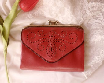 Red Leather Wallet, Lady's Cowhide Coin Purse Wallet