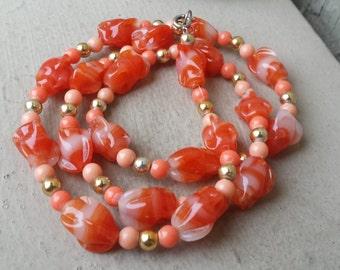 Vintage Chunky Milky White & Orange Swirled Murano Italian Lampwork Glass Bead Single Strand Long Necklace Jewelry Jewellery