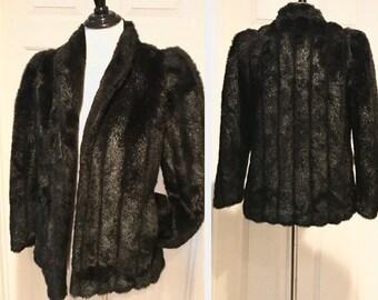 Vintage 1980's Rondo Casual Coat Black Faux Fur Jacket Women's Size Medium