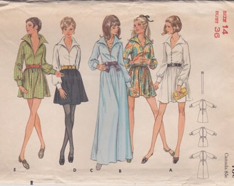 60s Dress Pattern Butterick 5614 Size 14