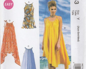 Flowing Sun Dress Pattern McCalls 6743 Sizes XS, S, M (4 - 14) Uncut