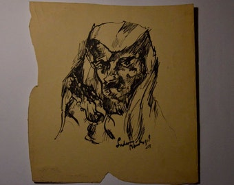 Robed Man Original Drawing In Ink Signed 1918