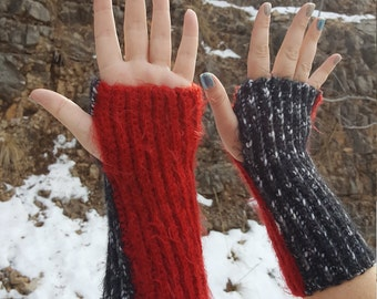 Black And Red Crochet Fingerless Gloves, Wrist Warmers, Winter Apparel, Winter Gloves for Her,  Gloves for Texting, Gift Ideas
