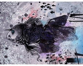 Abstract fish art print, Mixed Media abstract painting, Illustration, Blue Grey Wall Art, Abstract art print