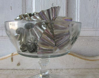 Vintage footed glass bowl with set of vintage cupcake forms