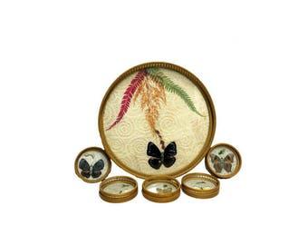 Vintage Rattan Butterfly Tray & Coaster Barware Set Mid Century Modern