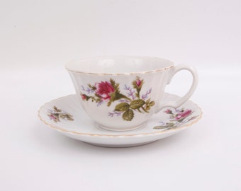 Vintage Pink Moss Rose Teacup and Saucer Ribbed Cup Made in Japan Noritake Ware Morimura Bros Porcelain