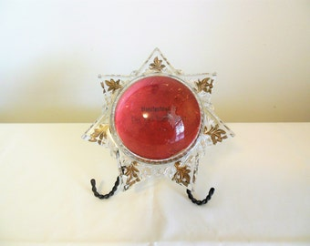 Magnifying Star Paperweight with Stand Antique Goofus Glass Gold Trim Glen Rock Novelty Works