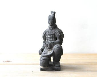 Chinese imperial warrior vintage statue / terracotta clay man figurine / Chinese emperor tomb replica / rustic gray soldier / funerary art