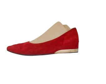 Vintage Red Wedge Shoe 70s Shoe 1970s Shoe 70s Party Suede Shoe Leather Shoe Women Shoe Ladies Shoe Retro Shoe Women Loafer Slip On Shoe