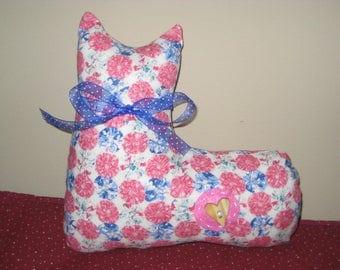 Cat Plush - Pink and Blue - Stuffed Cat - Shelf Sitter - Ready to Ship