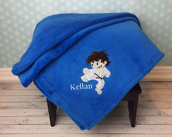 Karate Blanket, Personalized Applique Blanket, Sport Blanket, Birthday Gift, Baseball Coach Gift, Baseball Blanket with Name, Karate boy