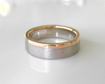 Gold Stripe Wedding Band, 6mm, Recycled 14k & 18k Gold, Sterling Silver, Stacking Wedding Ring, Alternative Gold Wedding Ring