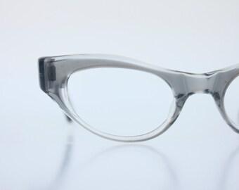 Vintage 50's Gray Wrap Cat Eye Eyeglasses Sunglass Frames